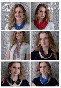 King Cole 4392 Necklaces, Snoods, Collar and Scarf in Cosmos and Smooth DK  (downloadable PDF)