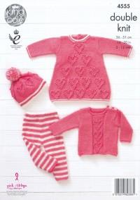 King Cole 4555 Baby Set in Baby Glitz DK (leaflet)