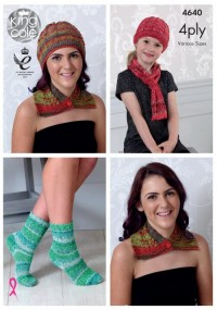 King Cole 4640 Neck Wrap, Hat, Scarf and Socks in Party Glitz 4 Ply (downloadable PDF)