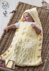 King Cole 4672 Baby Sleeping Bag, Cushion and Blanket in Comfort Aran (downloadable PDF)
