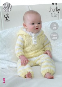 King Cole 4846 All-In-One, Hoody, Pants and Hat in Big Value Baby Chunky (leaflet)