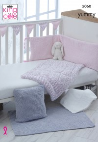 King Cole 5060 Cot Bumper, Cot Cover, Blanket/ Rug, Cushion and Bunting in Yummy (leaflet)