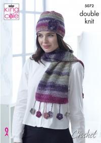 King Cole 5072 Poncho, Neck Warmer, Triangular Shawl, Lace Wrap, Wrap & Hat in Shine DK (leaflet)