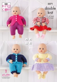 King Cole 5571 Dolls Clothes in Dollymix DK (downloadable PDF)