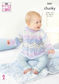 King Cole 5621 Sweater, Jacket, Hat and Blankets in Comfort Cheeky Chunky (leaflet)