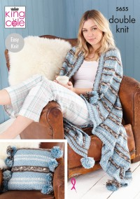 King Cole 5655 Cushion, Throw, Tea Cosy and Hot Water Bottle Cover in Fjord DK (leaflet)