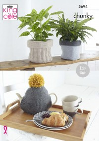 King Cole 5694 Plant Pot Sacks, Tablet Cover, Tea Cosy and Bag in Ultra Soft Chunky (leaflet)