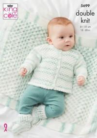 King Cole 5699 Cardigan, Waistcoat, Hoody, Blanket and Bootees in Baby Stripe DK (leaflet)