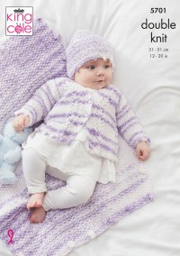 King Cole 5701 Matinee Coat, Cardigan, Crossover Waistcoat, Hat and Bootees in Baby Stripe DK (leaflet)