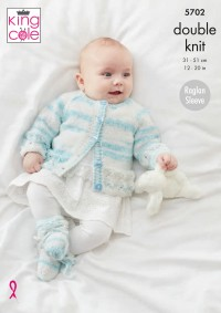 King Cole 5702 Matinee Coat, Cardigan, Sweater and Bootees in Baby Stripe DK (leaflet)