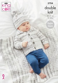 King Cole 5704 Jackets, Sweater, Blanket and Hat in Baby Stripe DK (leaflet)