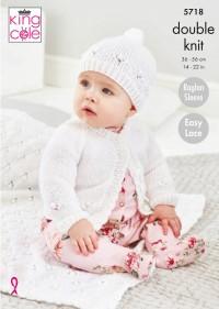 King Cole 5718 Cardigan, Hat & Blanket in Baby Glitz DK (leaflet)