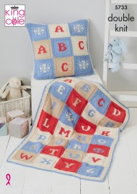 King Cole 5733 Alphabet Blanket and Cushion Cover in Cottonsoft DK (leaflet)