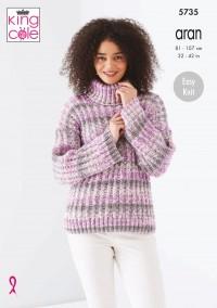 King Cole 5735 Ladies Cardigan & Sweater in Drifter Aran (leaflet)