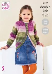 King Cole 5740 Girls Cardigan & Sweater in Bramble DK (leaflet)