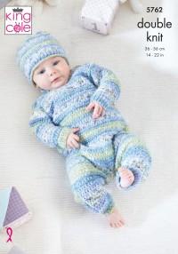 King Cole 5762 Onesie, Hat, & Sleeping Bag in Baby Splash DK (leaflet)