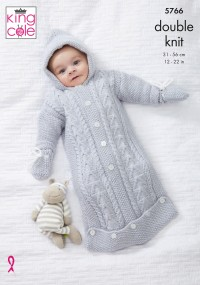 King Cole 5766 Sleeping Bag, Sweater, Hat & Mittens in Baby Safe DK (leaflet)