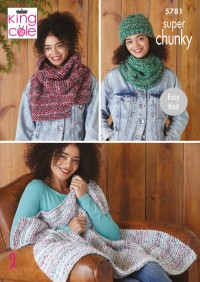 King Cole 5781 Throw, Scarf, Snood and Hat in Christmas Super Chunky (leaflet)