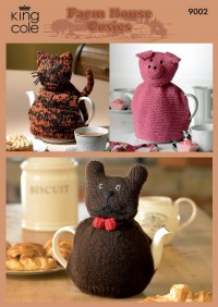 King Cole 9002 Cat, Pig and Dog Farm House Tea Cosie in Merino Blend DK (downloadable PDF)