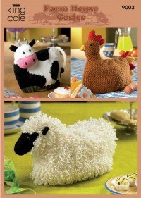 King Cole 9003 Cow, Sheep and Hen Tea Cosies in Merino Blend DK (downloadable PDF)