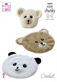 King Cole 9099 Crochet Teddy and Panda Rugs with Cushion in Tufty Super Chunky and Big Value Super Chunky  (leaflet)
