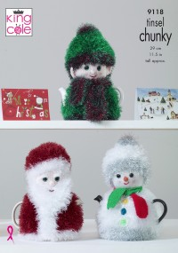 King Cole 9118 Christmas Tea Cosies in Tinsel Chunky and Dollymix DK (leaflet)