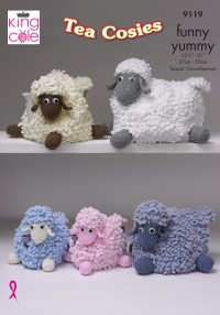 King Cole 9119 Tea Pot Cosies in King Cole Funny Yummy (leaflet)