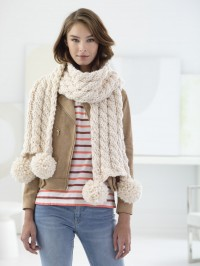 Lion Brand Bonus Bundle Easy Cabled Scarf in Thick & Quick (downloadable PDF)