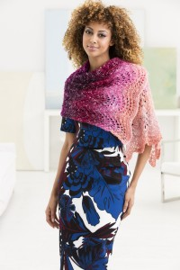 Lion Brand Feather And Fan Shawl in Shawl in a Ball (downloadable PDF)