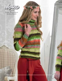 Noro - Floral Sweater with Lace Diamond Front by Jenny Watson in Kureyon (downloadable PDF)