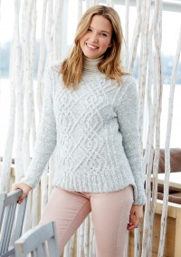 Patons - Ladies Cable Sweater in Dream Light (downloadable PDF)
