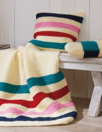 Patons - Stripey Pillows & Blanket in Fab Big (downloadable PDF)