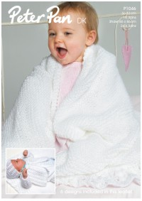 Peter Pan P1046 Matinee Coat, Angel Top, Bonnet, Mittens, Bootees and Shawl in DK (downloadable PDF)
