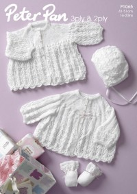 Peter Pan P1065 Jackets, Bonnet and Mitts in 2 Ply and 3 Ply (leaflet)