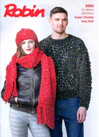 Robin 3000 - Sweater, Hat and Scarf in Firecracker Super Chunky (leaflet)
