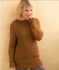 Red Heart - Aran Basket Stitch Sweater in Soft (downloadable PDF)