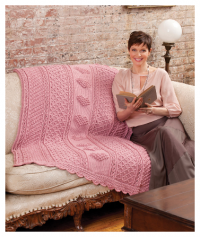 Red Heart - Aran Hearts Throw in Red Heart Soft (downloadable PDF)