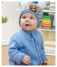 Red Heart - Baby Cardigan & Hat in Red Heart Soft (downloadable PDF)