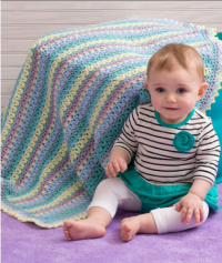 Red Heart - Baby Stripes Blanket in Super Saver (downloadable PDF)