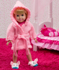 Red Heart - Doll Robe And Bunny Slippers in Super Saver (downloadable PDF)