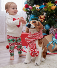 Red Heart - Holiday Stripes Dog Scarf in Super Saver (downloadable PDF)