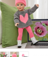 Red Heart - Love My Doll Sweater & Messy Bun Hat in Super Saver (downloadable PDF)