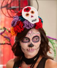 Red Heart - Sugar Skull Woman's Headpiece in Super Saver (downloadable PDF)