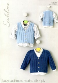 Sublime 6100 Sublime Baby Cashmere Merino Silk 4 Ply Cardigan and Waistcoat (downloadable PDF)
