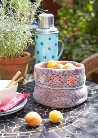 Schachenmayr - Basket with Granny Squares Edge in Catania  (downloadable PDF)