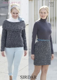 Sirdar 7391 Sweater and Skirt in Boufflé (downloadable PDF)
