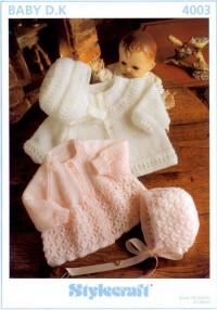 Stylecraft 4003 Baby DK (leaflet) Jacket, Bonnet and Helmet