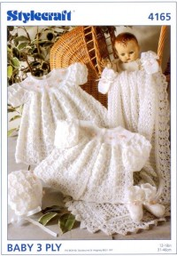 Stylecraft 4165 Baby 3 Ply (leaflet) Matinee Coat, Dress, Bonnet, Bootees, Mittens and Shawl