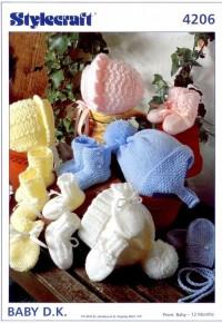 Stylecraft 4206 Baby DK (leaflet) Bonnets, Cap, Helmet, Bootees & Mittens