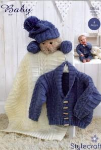 Stylecraft 4854 Baby Aran Blanket, Hat, Scarf, Mittens (leaflet)